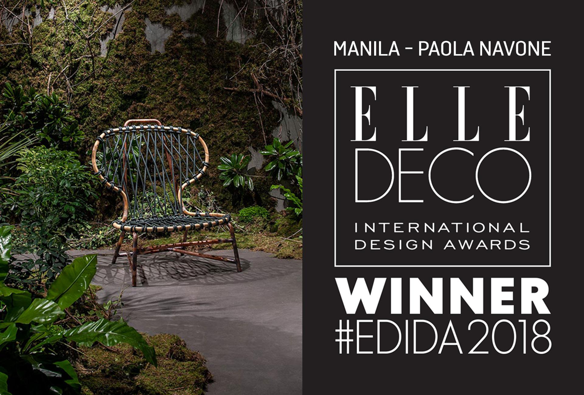 MANILA VIENE PREMIATA DAGLI ELLE DECO INTERNATIONAL DESIGN AWARDS
